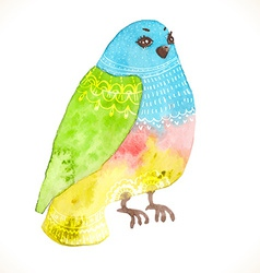 Watercolor floral bird vector