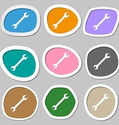 wrench icon symbols Multicolored paper stickers vector image