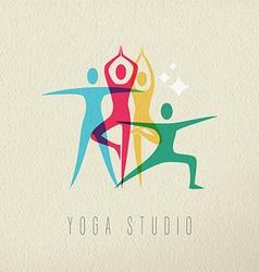 Yoga studio icon design of people doing meditation vector image