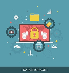 Data storage flat concept vector