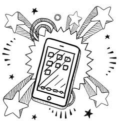 doodle pop phone iphoneish vector image