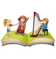Children playing music on children book vector