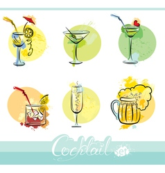 Set of alkohol drinks images in grunge style vector image