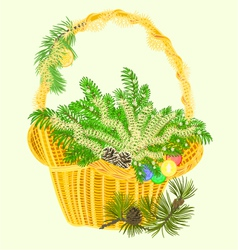 Christmas decoration basket with branches vector