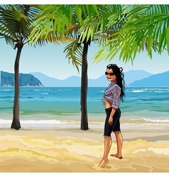 Cartoon girl on the sandy beach with palm trees vector