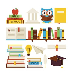 Flat style collection of books education and vector