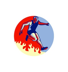 Obstacle racing jumping fire retro vector