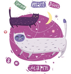Cats march spring vector
