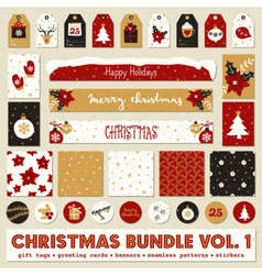 Red white gold christmas printable papers bundle vector