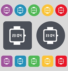 Wristwatch icon sign a set of 12 colored buttons vector