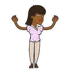 Comic cartoon woman throwing hands in air vector