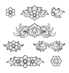 Vintage baroque engraving floral elements vector