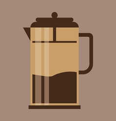 A brown jug with coffee in outlines over a brown b vector