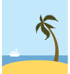 Sea beach with palm tree vector image