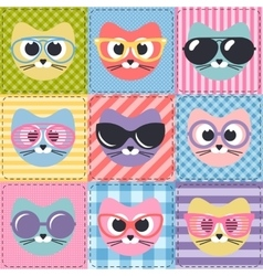 Patchwork background with cats and sunglasses vector
