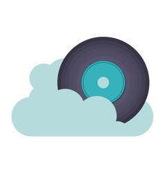 Vinyl music with cloud isolated icon design vector
