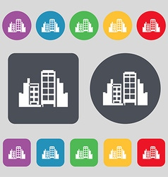 Buildings icon sign A set of 12 colored buttons vector image