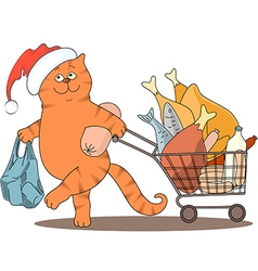 Cat and food santa vector