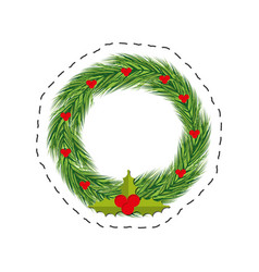 Christmas wreath red berries leaves vector