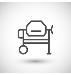 Concrete mixer line icon vector image