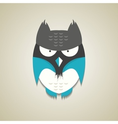 Cute little blue and grey cartoon owl vector image vector image