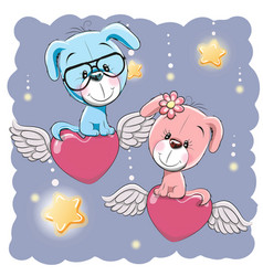 Cute lovers dogs vector