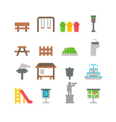 Flat design park item set vector