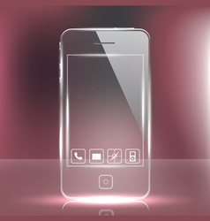 futuristic glass cell phone vector image vector image