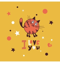 Greeting card with giraffe cat vector
