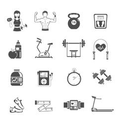 Gym icon black set vector