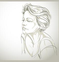 Hand-drawn portrait of white-skin sad woman face vector