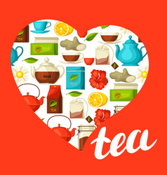 I love tea background with tea and accessories vector