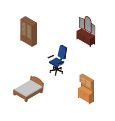 Isometric furnishing set of office drawer vector