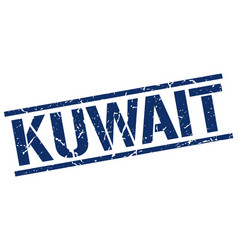 Kuwait blue square stamp vector
