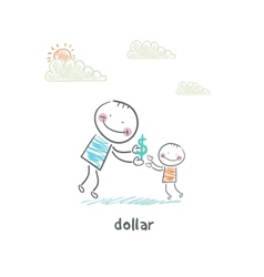 Man giving dollars vector