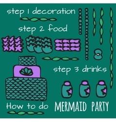 Mermaid party elements underwater kids party vector