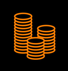 Money sign orange icon on black vector