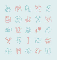 Orthopedic trauma rehabilitation line icons vector