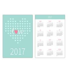 Pocket calendar 2017 year week starts sunday vector