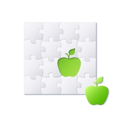 Puzzles and green apple concept vector image
