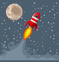 Retro space rocket lifts off vector