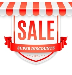 Sale Banner with Store Awning vector image vector image
