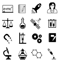 Science and scientific discovery icons vector