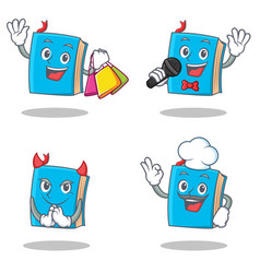 Set of blue book character with shopping karaoke vector