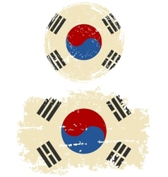 South korean round and square grunge flags vector