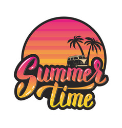 Summer timeevening sun and palm trees hand vector