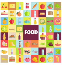 tasty food grocery products and refreshing drinks vector image