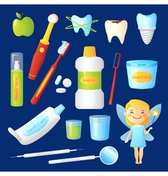 Teeth care set vector