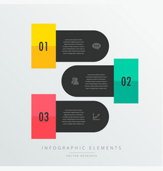 three steps infographic elements in black theme vector image