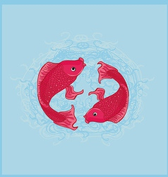 Two koi carps splashing in water and swim vector